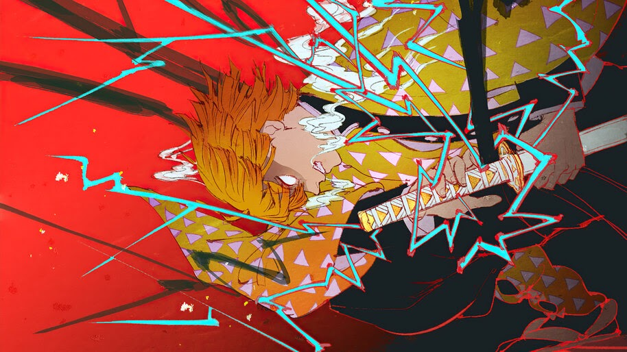 Zenitsu Agatsuma, Breath of Thunder, Kimetsu no Yaiba, 4K, #7.1412