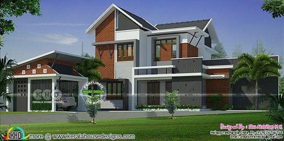 5BHK sloping roof modern home 1975 square feet