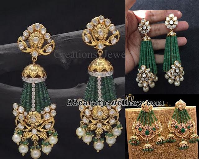 Polki Earrings with Emerald Beads Tassels