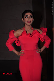 Actress praneetha Stills in Red Long Dress at South Scope Lifestyle Awards 2016 Red Carpet  0138.JPG