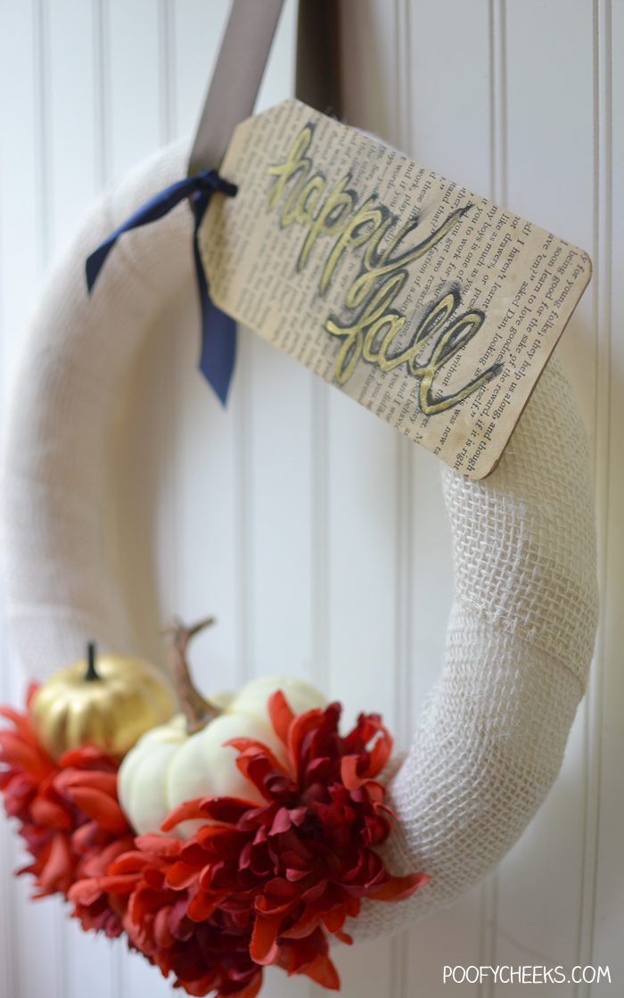 Simple Burlap Fall Wreath