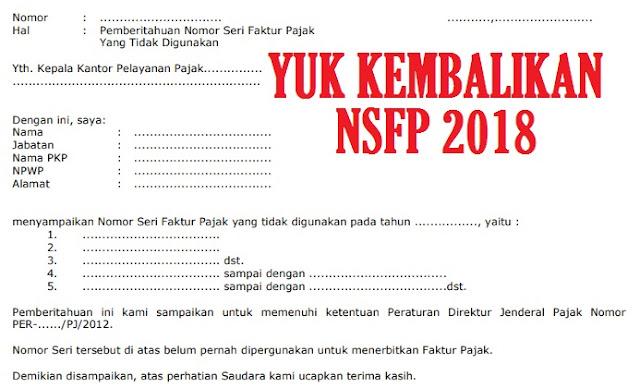 cara mengembalikan NSFP Tahun Pajak 2018 Yang Tidak Terpakai