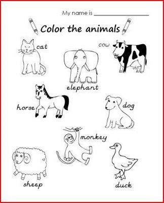 Fichas De Inglés Para Niños Fichas De Animales En Inglés