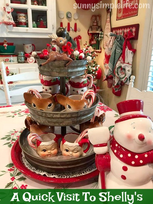 tiered tray, vintage Christmas cups