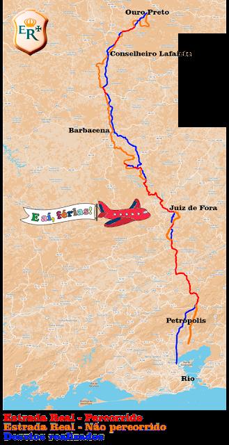 Mapa com nosso trajeto pelo Caminho Novo