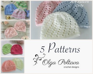 5 Baby Hat Patterns, Size 0-3 Months, $10.99