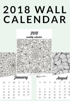 free printable 2018 calendar to color