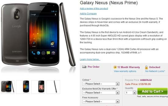 unlocked samsung galaxy nexus pre order price in australia