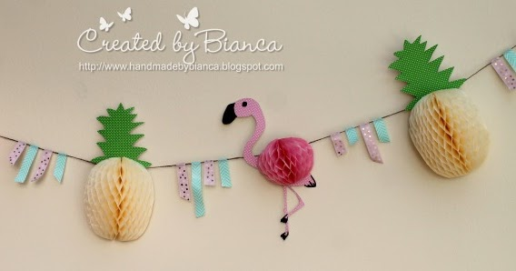 handmade by bianca flamingo und ananas dekokette selbst basteln mit folia. Black Bedroom Furniture Sets. Home Design Ideas