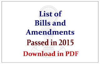 List of Bills, Acts and Amendments that Passed in 2015 GK Updates