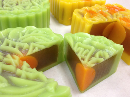 Mooncakes with salted egg yolks