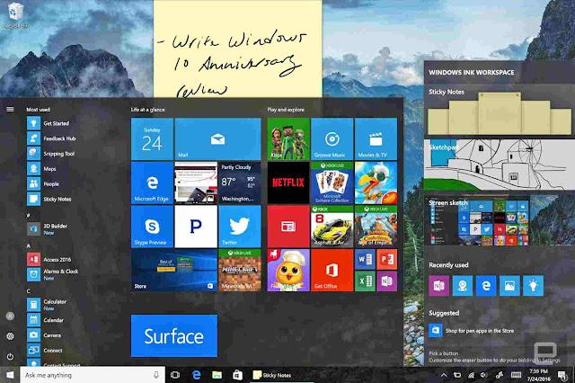 Ini Fitur baru sampai perubahan sistem yang lebih baik dari Windows 10 Anniversary Update