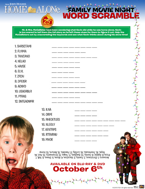 Home Alone Word Scramble Printable