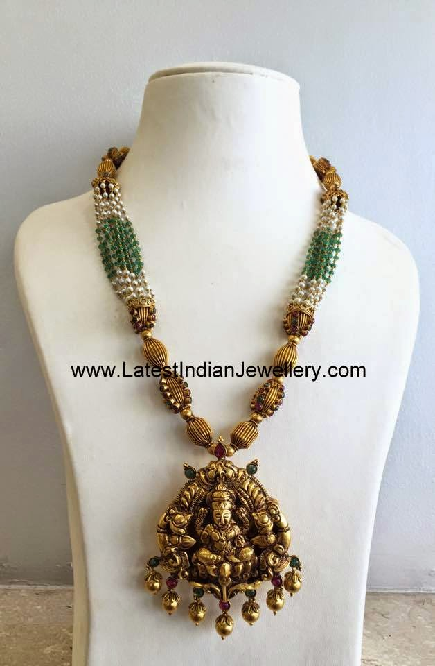 Latest Lakshmi Necklace with Beads
