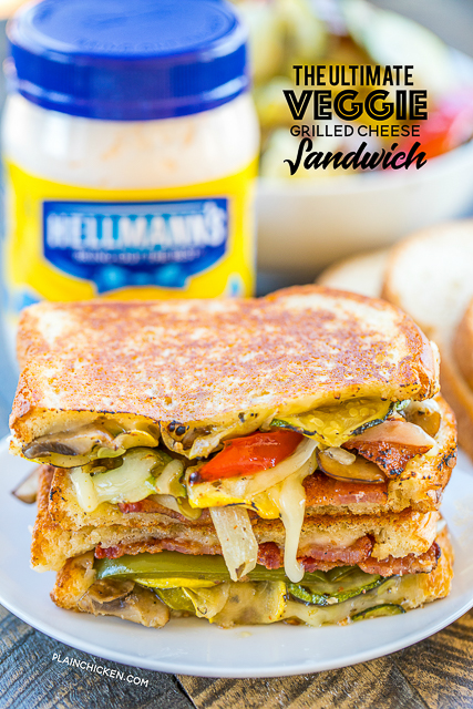 The Ultimate Veggie Grilled Cheese Sandwich - perfectly crispy and delicious!!! Roast the veggies ahead of time for a super quick meal later!! The key to this sandwich is Hellmann's Mayonnaise on the OUTSIDE of the sandwich. It makes all the difference! I know it sounds strange, but it is AH-MAZ-ING! Eggplant, zucchini, mushrooms, squash, bell peppers, onions, white cheddar, wheat bread and Hellmann's Mayonnaise. Seriously THE BEST! #strangewich #EatBetterLiveBetter #Walmart #ad