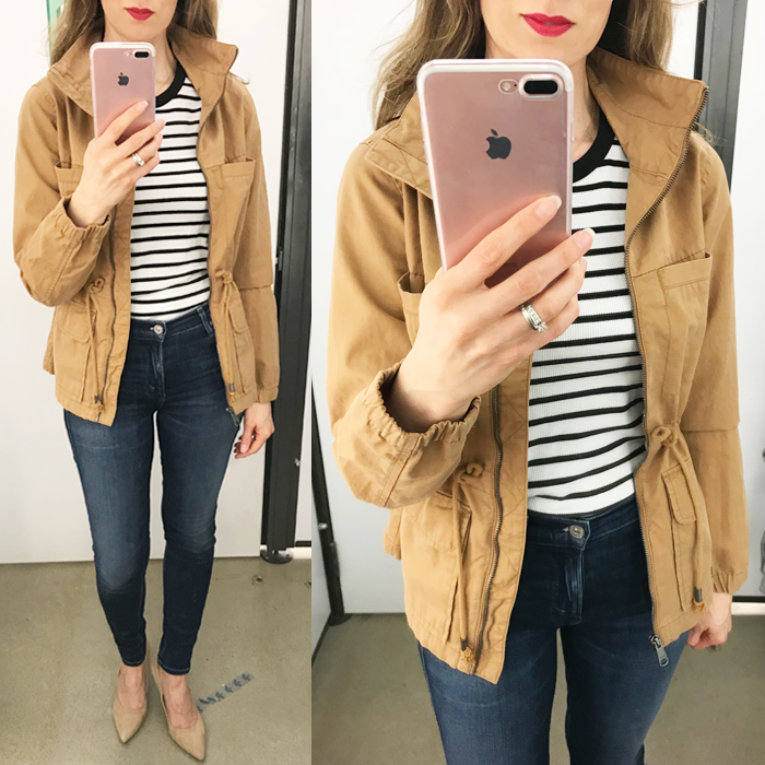 old navy field jacket striped tee skinny jeans