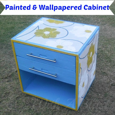 With A Blast: Painted & Wallpapered Cabinet  {paint your wallpaper the color of your color scheme!}  #diy  #furniturepainting  #paintprojects