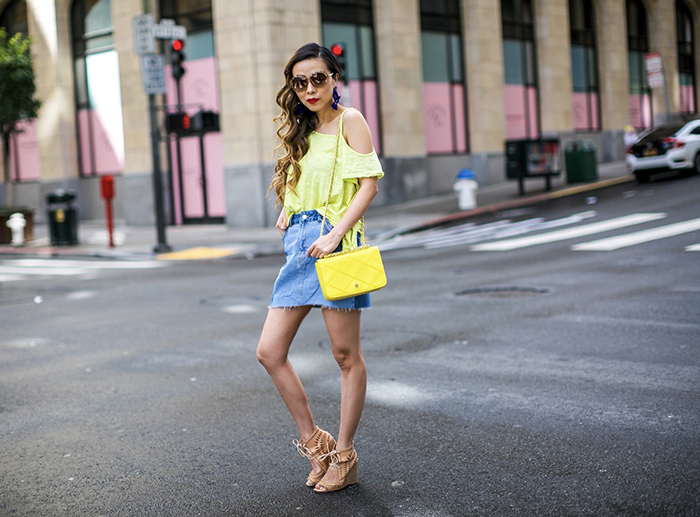 Free people caroline tee, yellow one shoulder tee, topshop color block denim skirt, color blocked denim skirt, swarovski amazing sunglasses, jeffrey campbell wedges, tory burch bag, baublebar earrings, san francisco street style, san francisco fashion blog