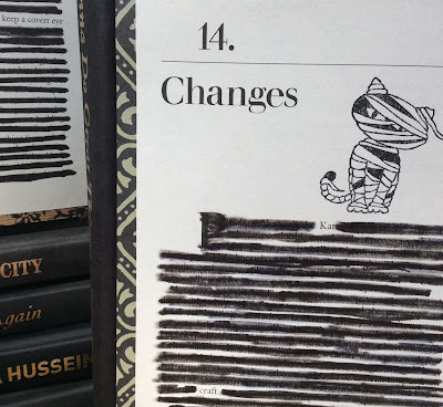redacted book page altered art mummy cat rubber stamp Halloween decoration