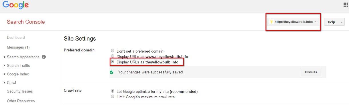 google search console preferred domain site settings