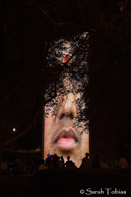 The Giant Faces and Water feature at Millennium Park. Through the trees and the people in silhouette.