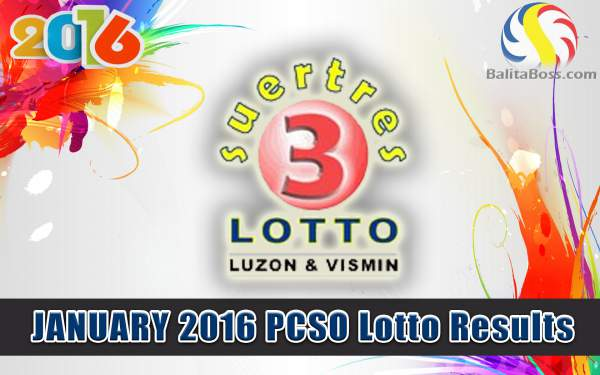 Image: January 2016 PCSO Suertres Lotto