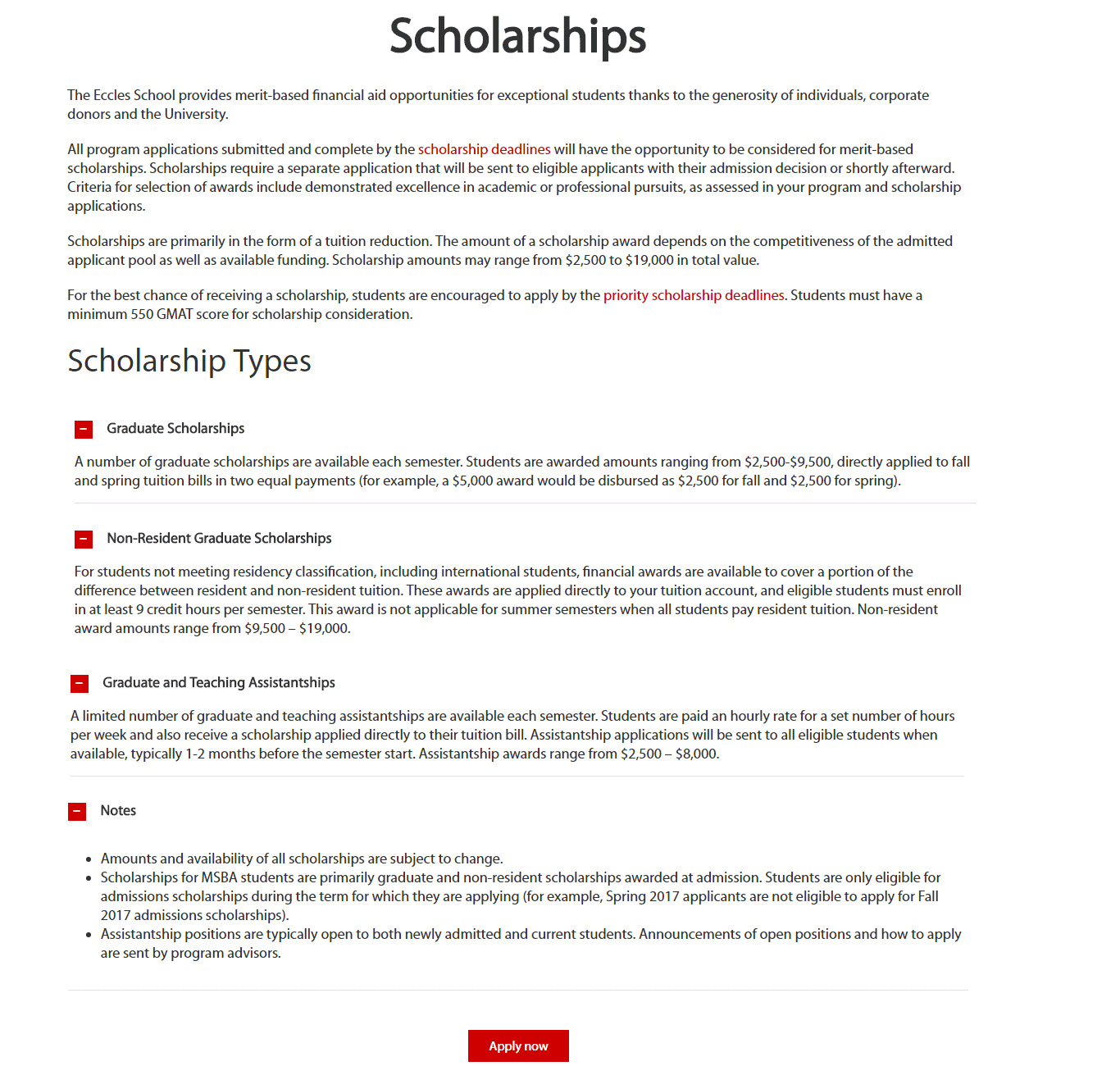 Graduate Scholarships USA University of Utah David Eccles School of Business for International Students