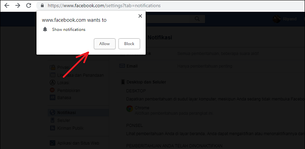 Cara Menonaktifkan / Aktifkan Notifikasi Facebook Desktop di Google Chrome