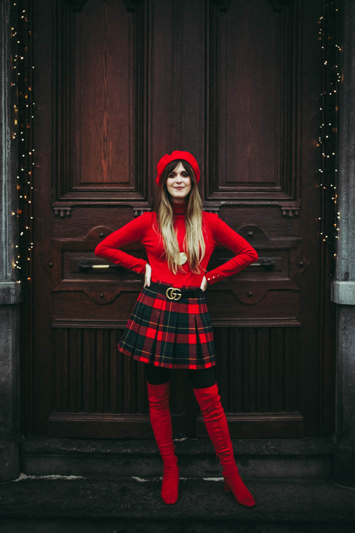 outfit: bright red thigh high boots, plaid skirt, gucci belt