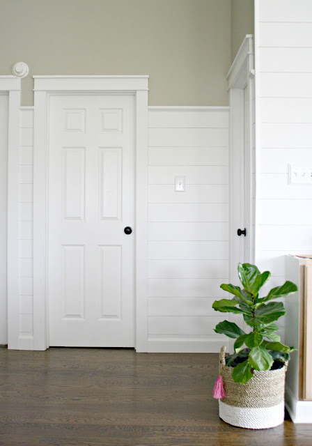 white shiplap walls with chunky door trim