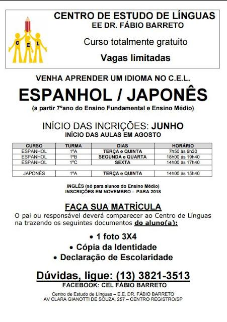 Centro de Estudo de Línguas junto à E.E. Dr. Fábio Barreto iniciará inscrições para os cursos de Espanhol e Japonês