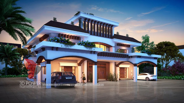 3D Exterior Rendering of a Bungalow