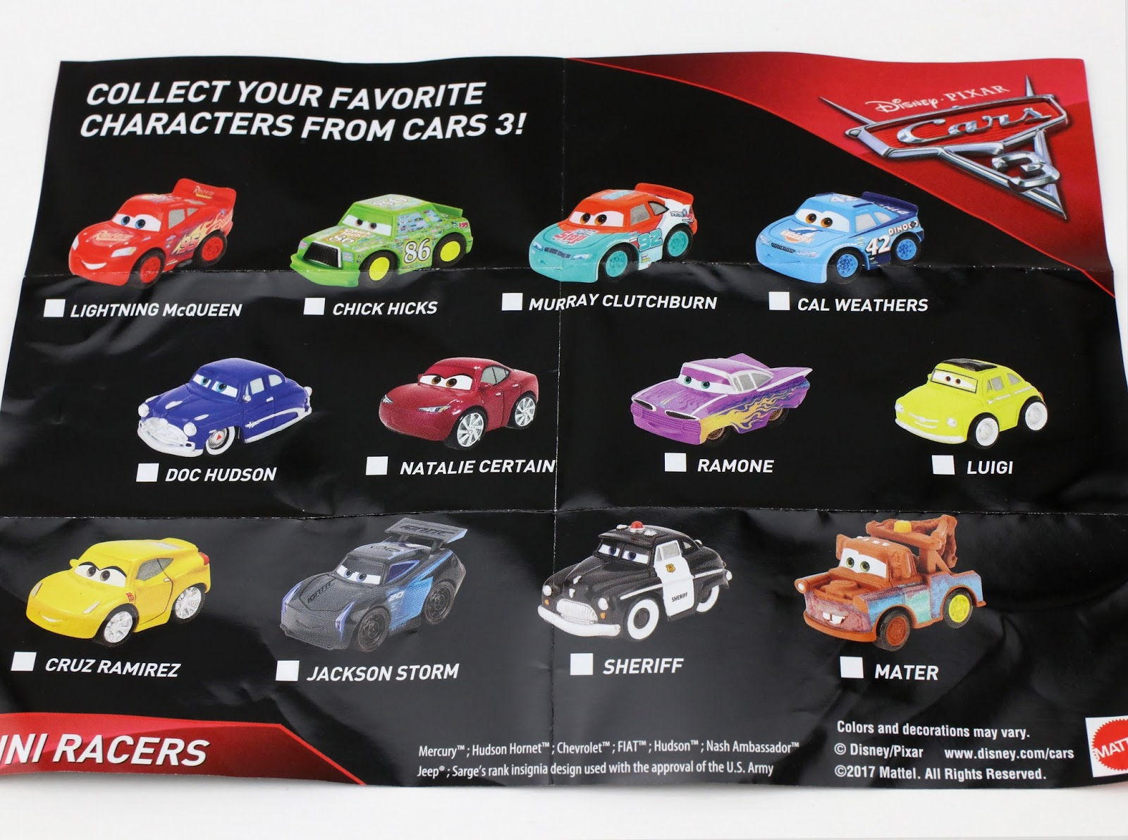 cars 3 mattel mini racers blind bags guide checklist