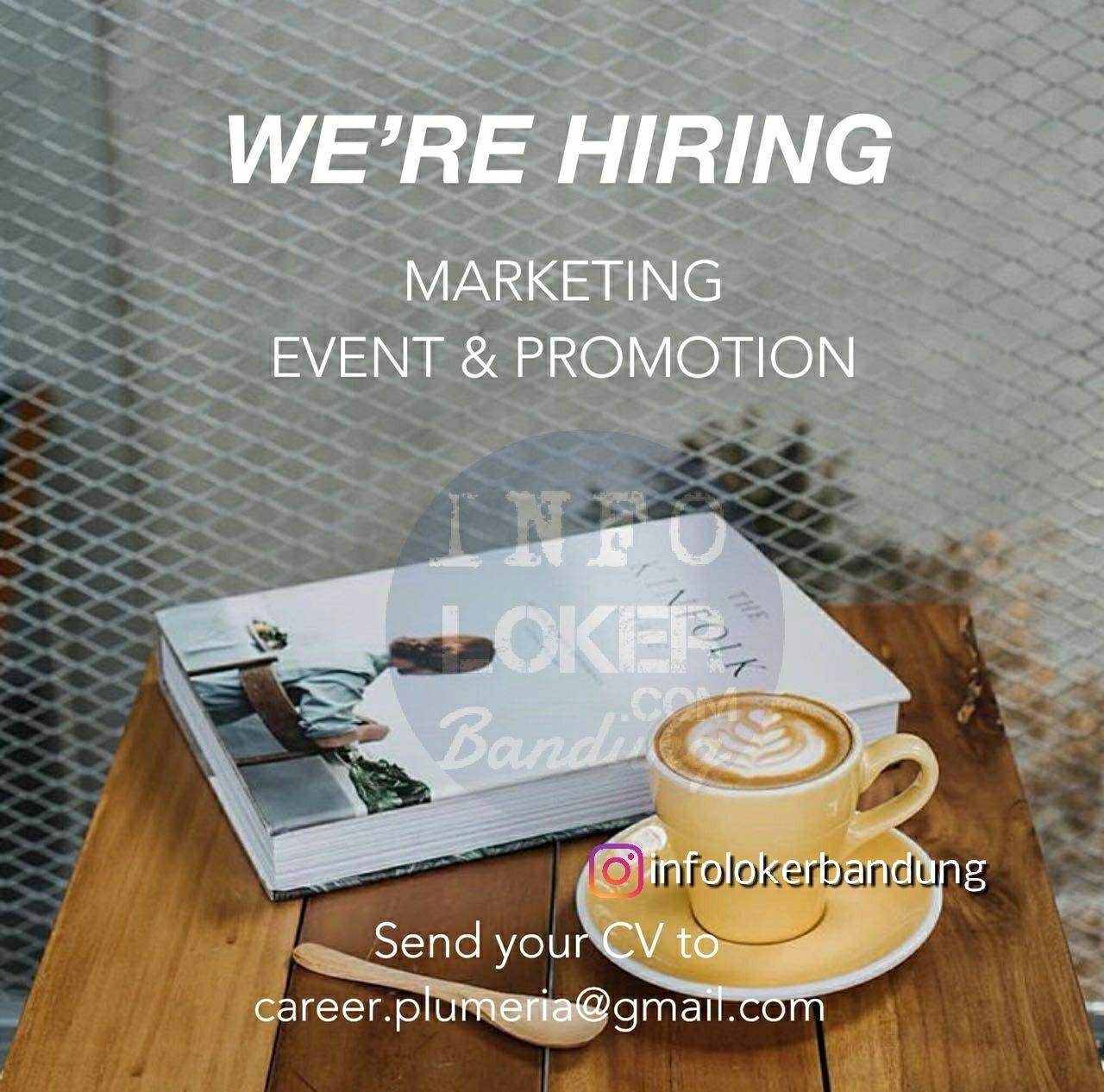 Lowongan Kerja Marketing Event & Promotion Plumeria Cafe & Ristorante Bandung Maret 2018