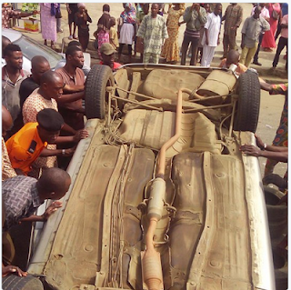 TRAGEDY! Girl seriously injured as car rams into a market in Osun (PHOTOS)