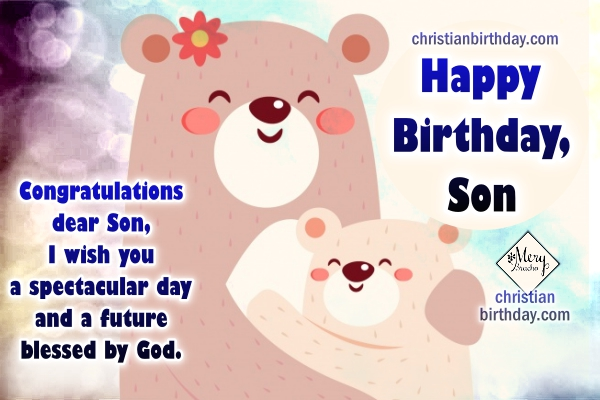 Happy Birthday christian Card for my little Son with quotes – Happy Birthday Card Son