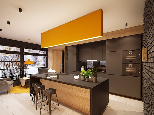 современная кухня с желтыми акцентами в интерьере