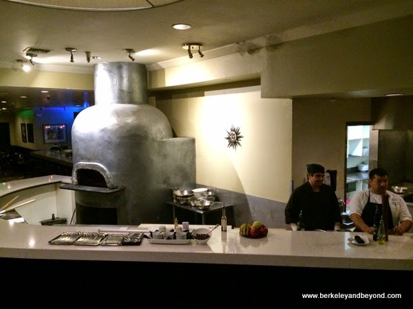 futuristic pizza oven at Fattoria e Mare in Burlingame, California