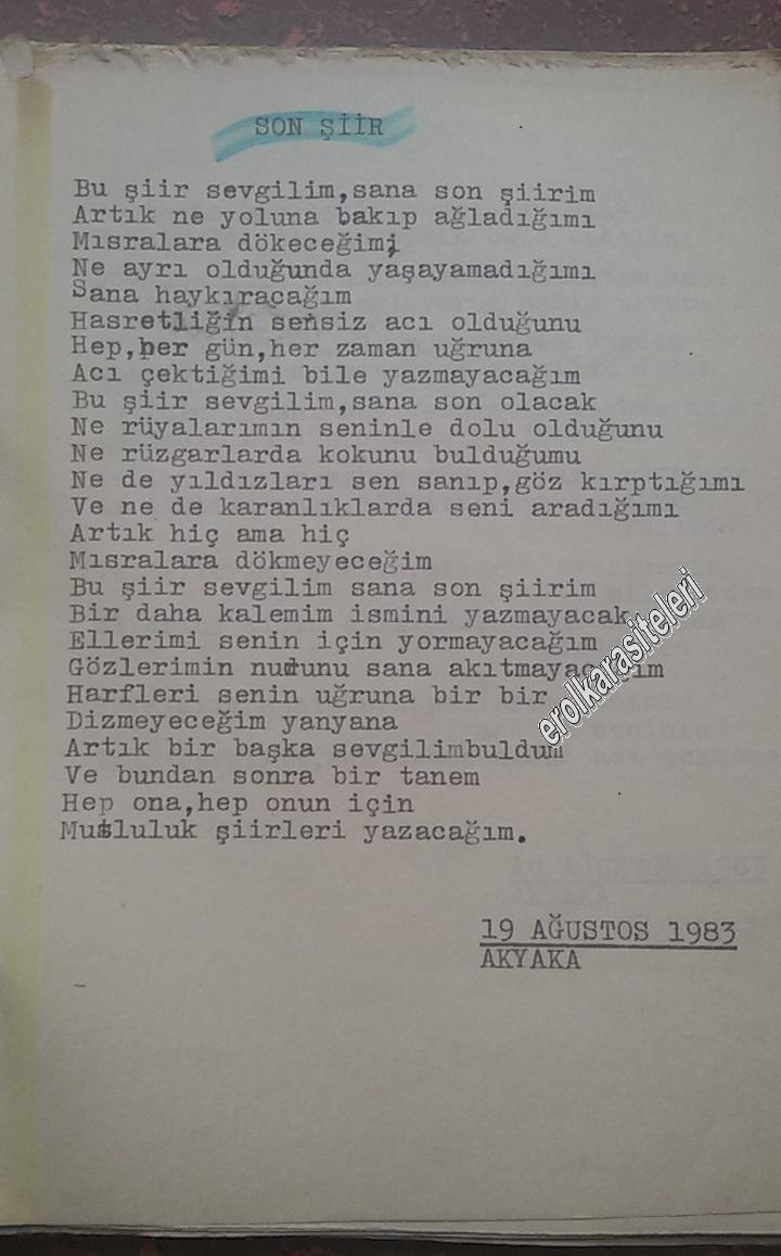 Nostaljik Asker Şiirleri - Son Şiir