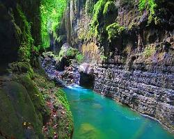 Objek Wisata Green Canyon Indonesia Terdapat Di Ciamis Jawa Barat