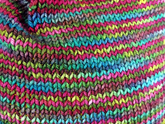 Close-up of colorful yarn for knit hat by Minaz Jantz