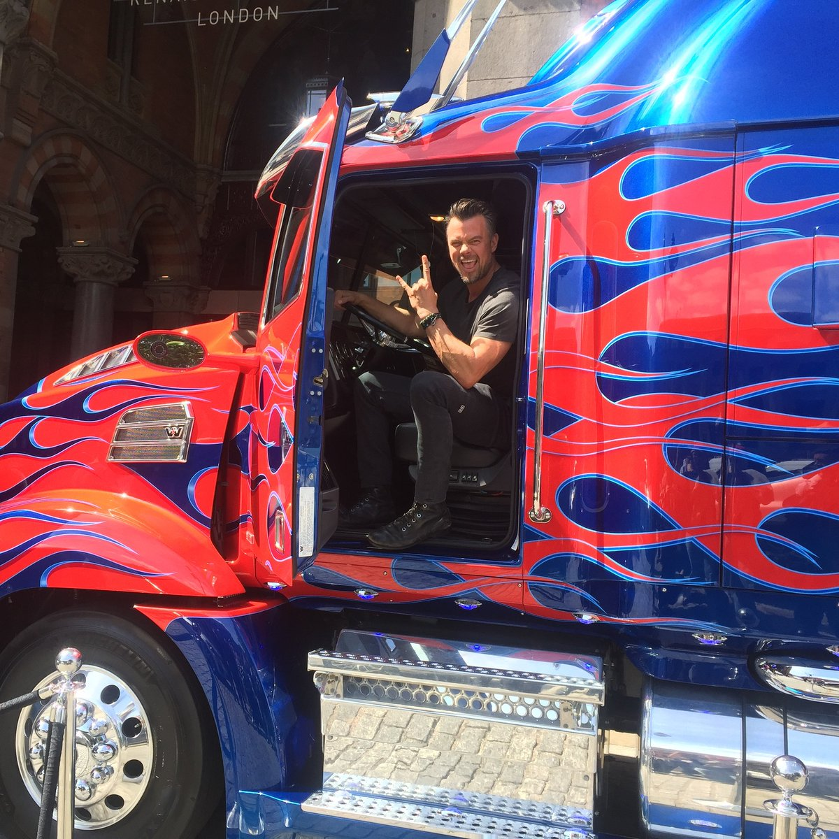 Josh Duhamel with Optimus Prime Truck