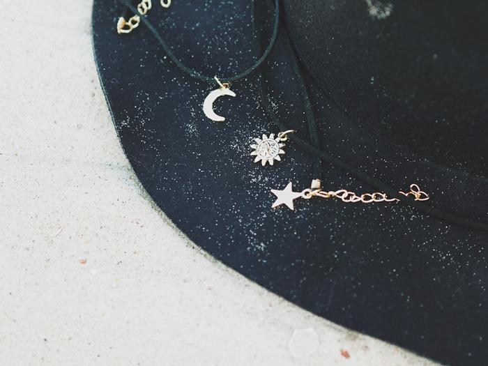 Moon, sun and star.
