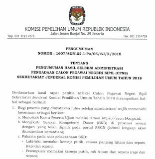 Pengumuman Administrasi Pengadaan Calon Pegawai Negeri Sipil (CPNS) Sekretariat Jenderal (Setjen) KPU RI Tahun 2018