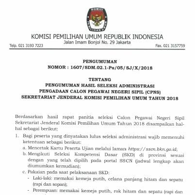 Pengumuman seleksi administrasi CPNS KPU
