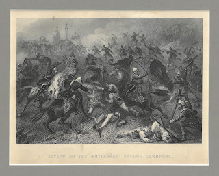 "Battle scene captioned ""Attack on the Mutineers before Cawnpore"""