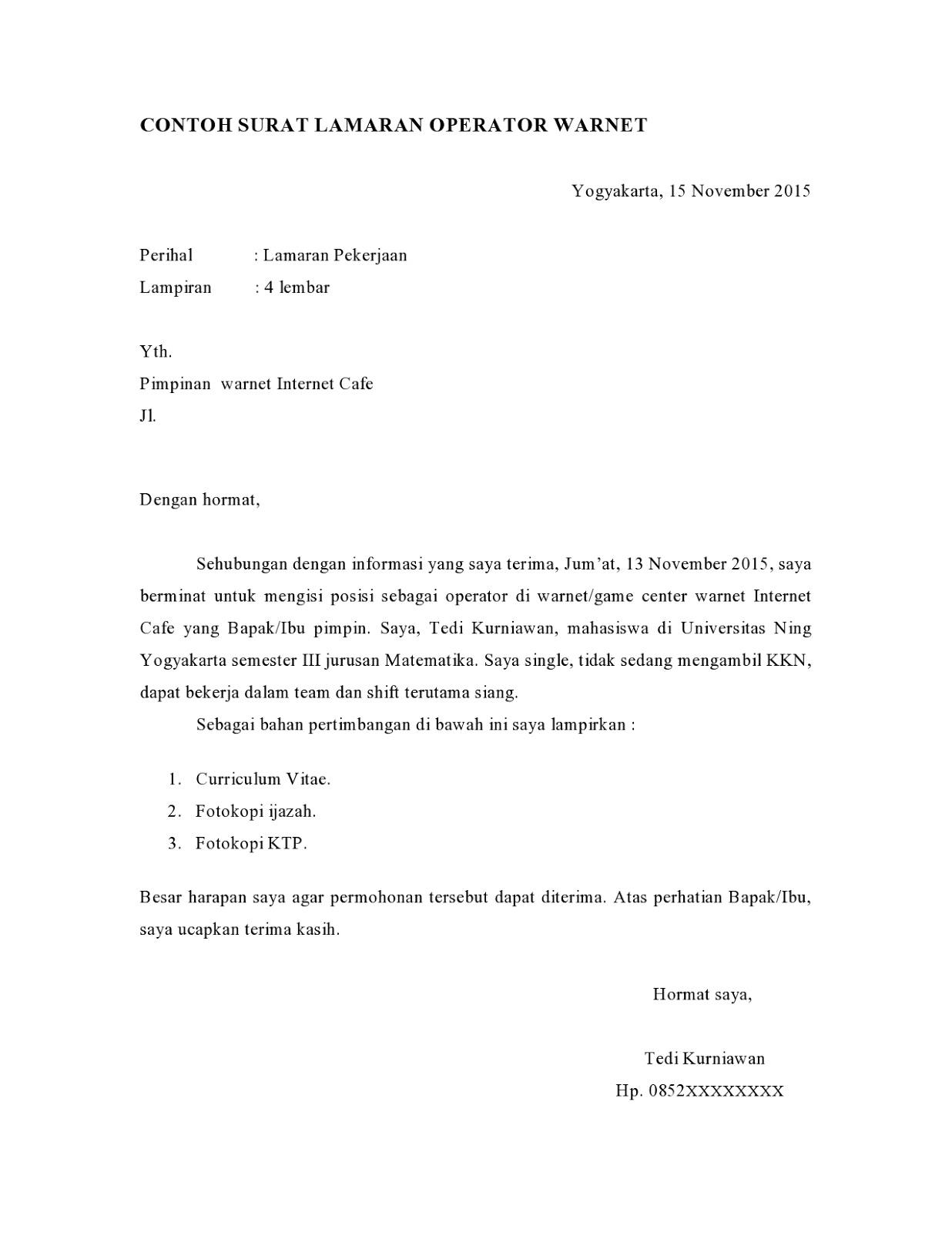 contoh surat lamaran kerja di warnet lengkap, cara membuat surat lamaran kerja di warnet, contoh surat lamaran pekerjaan, contoh cv, susan-jobs.blogspot.com