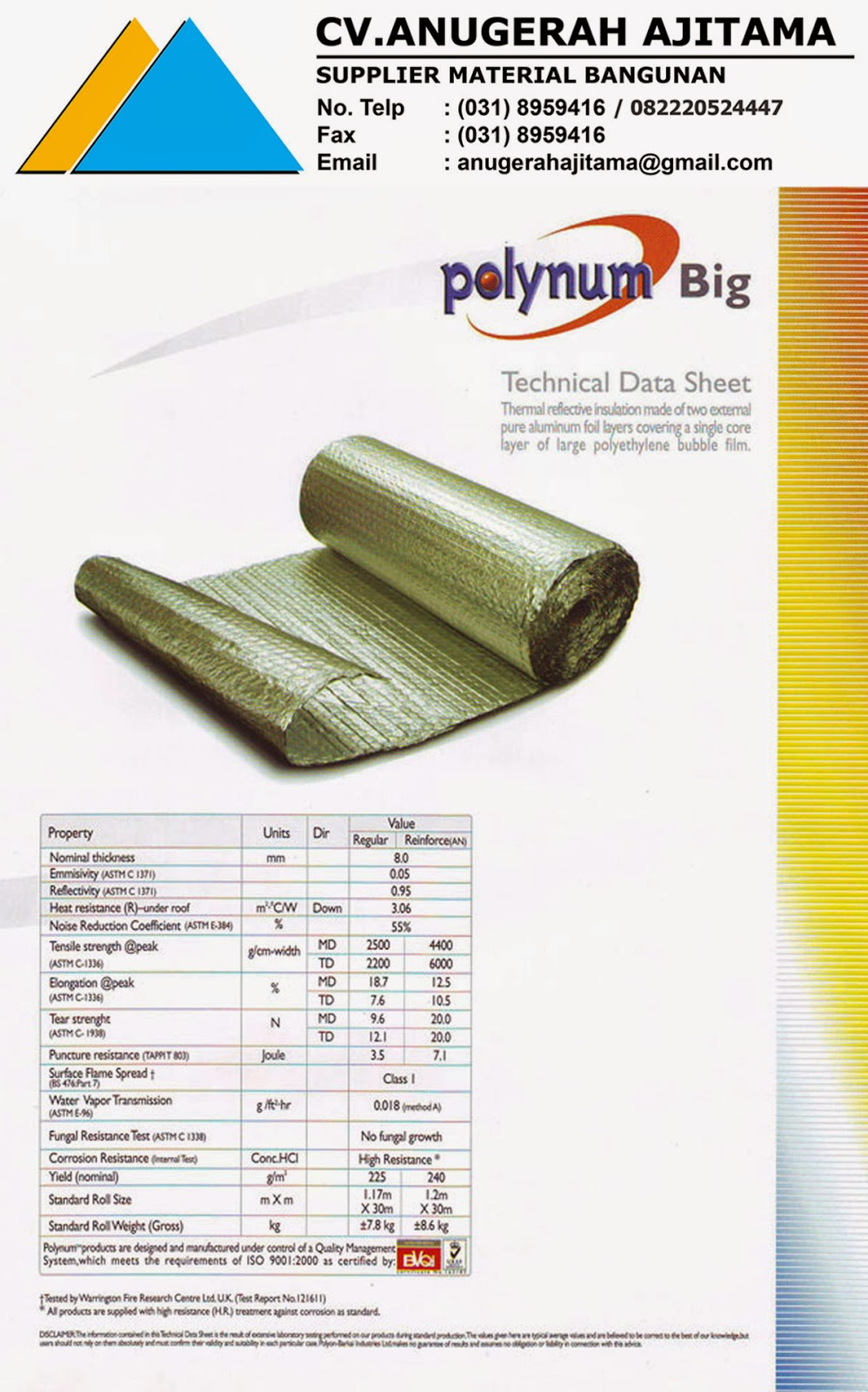 SPESIFIKASI INSULATION POLYNUM BIG