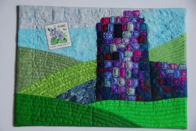 Greetings from Ireland - a picture postcard mini quilt (25 by 35 cm)