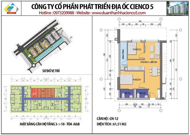 Mặt bằng căn hộ CH12 tầng 3-18 tòa HH02A&B